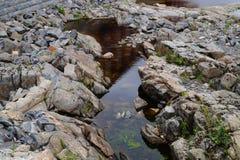 Corso d'acqua secco del fiume con le rocce ed acqua Fotografia Stock