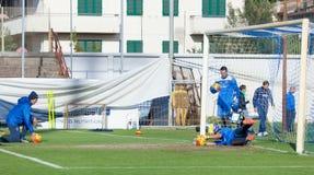 Corso di formazione del calcio di Empoli del gruppo Immagine Stock