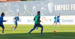 Corso di formazione del calcio di Empoli del gruppo Immagini Stock