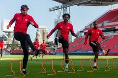 Corso di formazione della squadra nazionale del ` s degli uomini di calcio del Canada Fotografia Stock