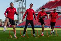 Corso di formazione della squadra nazionale del ` s degli uomini di calcio del Canada Fotografia Stock Libera da Diritti