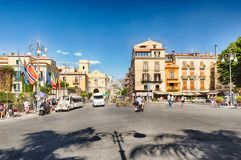 Corso Italia, the main street in Sorrento, Italy. SORRENTO, ITALY - JULY 16: People walking on Piazza Tasso, the main square in Sorrento, Italy, on July 16, 2017 royalty free stock photo