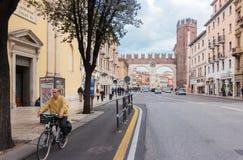 Corso Porta Nuova street and I portoni della Bra Gate royalty free stock photography