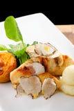 Corso pranzante fine della posta, petto di pollo arrostito Fotografie Stock
