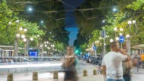 Corso Sempione夜timelapse,其中一条米兰主要辐形大道  股票录像