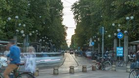 Corso Sempione timelapse,其中一条米兰主要辐形大道  影视素材