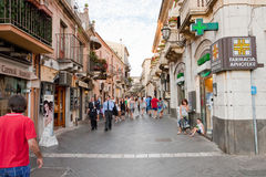 Corso Umberto -main street in Taormina, Sicily Stock Image