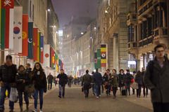 Corso Vittorio Emanuele à Milan images libres de droits