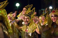 Cortège d'Espagnol Carnaval chez Sitges Photos stock