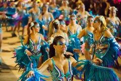 Cortège de carnaval chez Sitges dans la soirée Photo stock