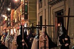 Cortège de Valladolid dans l'Espagnol traditionnel de semaine sainte Images stock