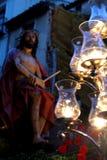 Cortège de Valladolid dans l'Espagnol traditionnel de semaine sainte Photographie stock libre de droits