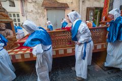 Cortège de Vendredi Saint de PROCIDA PÂQUES Image stock