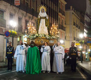 Cortège Semana Santa de soirée Photographie stock