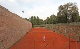 Cort de tennis à l'intérieur de forteresse de Kalemegdan, Belgrade, Serbie Photographie stock libre de droits