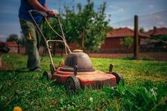 El cultivar un huerto cortar la hierba foto de archivo - Cortar hierba alta ...