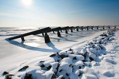 Cortacircuítos de hielo en invierno Fotografía de archivo