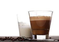 Cortado coffee drink in glass Royalty Free Stock Photos