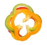 Cortado de los paprikas coloridos Foto de archivo