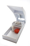 Cortador blanco de la píldora Fotografía de archivo