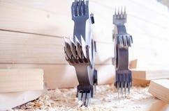 Cortador comum do dedo do CNC para o woodworking industriy foto de stock