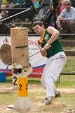 Cortador de madera australiano Blake Marsh en Adelaide Show real, septiembre de 2014 Imagen de archivo