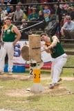 Cortador de madera australiano Blake Marsh en Adelaide Show real, septiembre de 2014 Fotografía de archivo