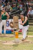 Cortador de madera australiano Blake Marsh en Adelaide Show real, septiembre de 2014 Imágenes de archivo libres de regalías