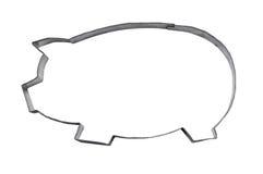 Cortador hecho en casa de la galleta del cerdo con el camino Foto de archivo