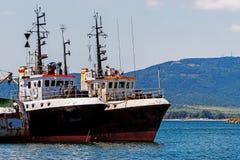 Cortadores amarrados en el puerto de Sozopol Fotografía de archivo libre de regalías