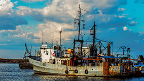 Cortadores amarrados no porto de Sozopol Foto de Stock Royalty Free