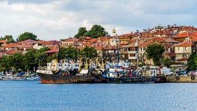 Cortadores amarrados no porto de Sozopol Fotografia de Stock Royalty Free