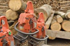 Cortadores de madera de la motosierra Imágenes de archivo libres de regalías