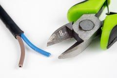 Cortadores do cabo e fio bonde isolado Os acessórios para elegem Fotografia de Stock Royalty Free