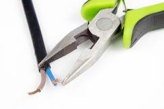 Cortadores do cabo e fio bonde isolado Os acessórios para elegem Imagens de Stock Royalty Free