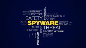 Cortafuego de la seguridad de la amenaza del Spyware que corta el fondo animado troyano de la nube de la palabra del programa de  libre illustration