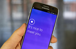 Cortana app on Android cell phone. MONTREAL, CANADA - JULY 30, 2017 : Cortana app on Android cell phone. Cortana is an intelligent personal assistant created by royalty free stock photo