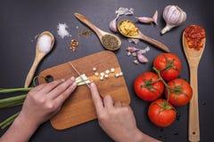 Cortando cebolas verdes Imagem de Stock