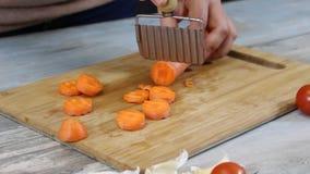 Cortando a cenoura na bandeja vídeos de arquivo
