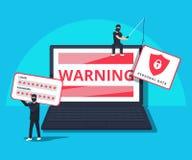 Cortando o ataque phishing Ilustração lisa do hacker novo que senta-se no portátil para cortar o sistema de proteção ilustração royalty free