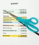 Cortando o orçamento Foto de Stock