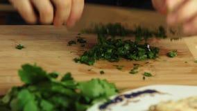 Cortar el perejil mientras que cocina el recibo de la comida del carbonara de los espaguetis almacen de metraje de vídeo