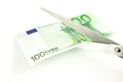 Cortar euro Imagenes de archivo
