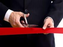 Cortar la cinta roja Imágenes de archivo libres de regalías