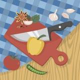 Cortar la comida en el tablero de madera con el cuchillo afilado stock de ilustración
