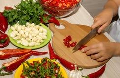 Cortar la pimienta de chile rojo Fotos de archivo libres de regalías