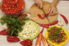Cortar la pimienta de chile rojo Foto de archivo