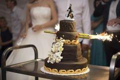 Cortar la torta de boda Imagen de archivo libre de regalías