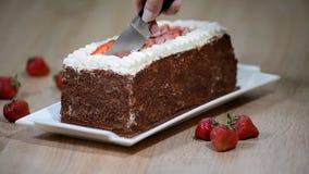Cortar la torta de chocolate con las fresas metrajes