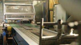 Cortar las gomas en pedazos en una fábrica del neumático metrajes